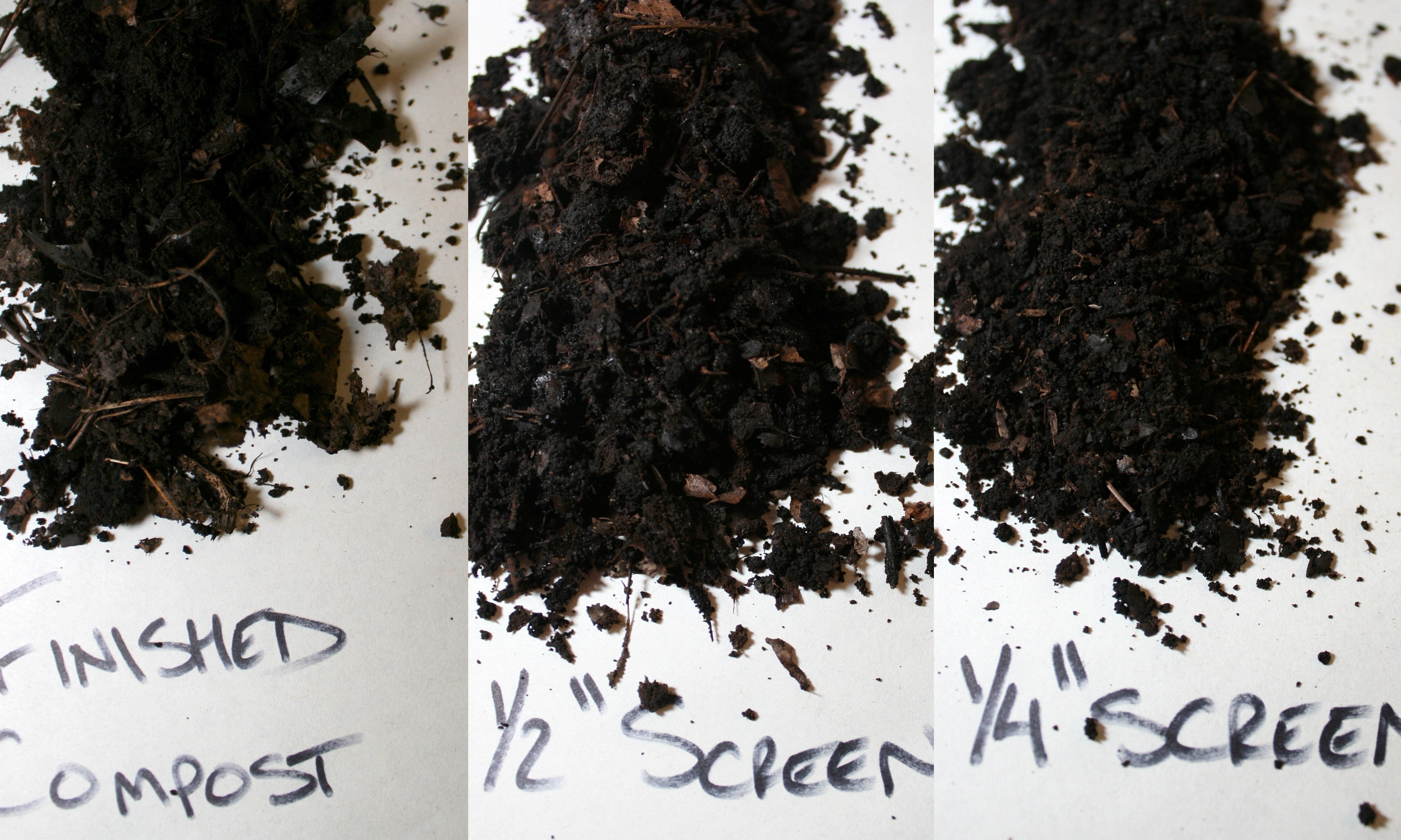 finished and screened compost with 12u2033 screen and 14u2033 screen click image for larger version
