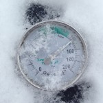 Thermometer is frosty, but inside the bin it is a cozy 140 F.